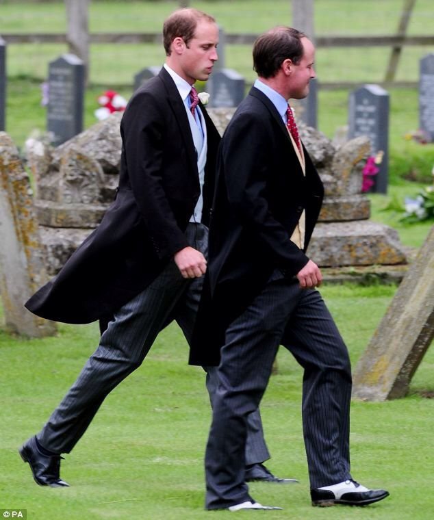 Prince William at wedding of James Meade and Lady Laura Marsham. Kate stayed home with Baby George.    Prince William was an usher at the wedding of his close friends. James Meade and Lady Laura Marsham tie the knot in Norfolk.   Pippa Middleton looked beautiful in blue lace.   The groom, son of equestrian gold medallist Richard Meade, gave an unofficial  speech at William and Kate's wedding reception; the bride is the daughter of Julian Marsham, the eighth Earl of Romley.