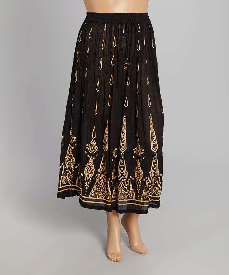 this highness nyc black gold geometric maxi skirt plus