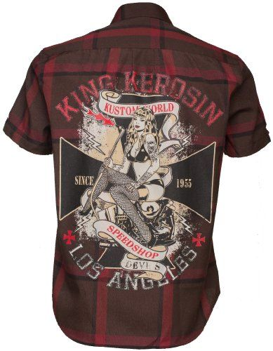 King Kerosin Woodcutter Shirt Rockabilly Herren Hemd – Kustom World Speedshop, braunrot