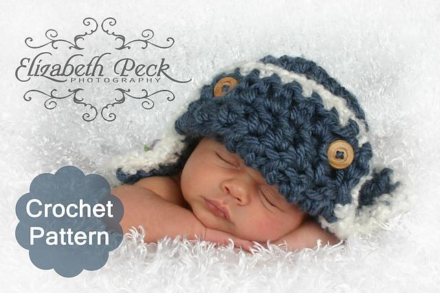 Ravelry: Baby Aviator Hat Crochet Pattern -- 0-6 month size pattern by Elizabeth Peck