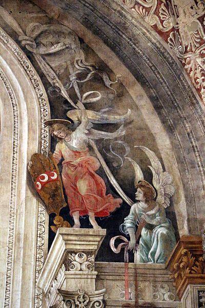 Filippino Lippi - Angeli con stemmi Strozzi e reggitabelle - affresco - 1489-95 - Cappella Filippo Strozzi - Basilica di Santa Maria Novella, Firenze