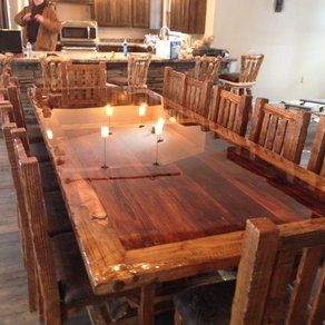 Farmhouse Table But With A Bar Top Epoxy Finish Super