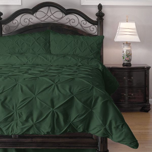 ExceptionalSheets 4 Piece Pinch Pleat Comforter Set - Ideal for Summer... (93 CAD) ❤ liked on Polyvore featuring home, bed & bath, bedding, comforters, green, king size comforter set, california king comforter, cal king comforter set, dark green comforter and california king comforter sets
