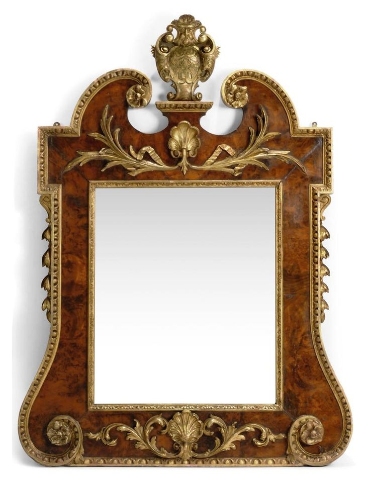 A LATE VICTORIAN WALNUT AND PARCEL GILT MIRROR - OF GEORGE II STYLE, LATE 19TH CENTURY