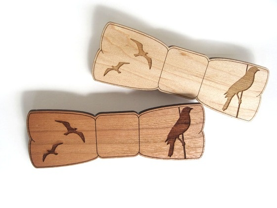 Copious: Birds Laser Cut Wooden Bow Tie Pin