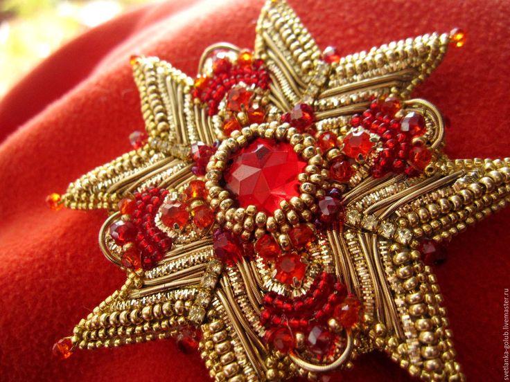 Купить Брошь орден - золотой, красный, алый, брошь орден, крест, звезда, орден