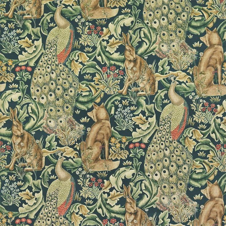 The Original Morris & Co - Arts and crafts, fabrics and wallpaper designs by William Morris & Company | Products | British/UK Fabrics and Wallpapers | Forest (Velvet) (DARP222643) | Archive II Prints
