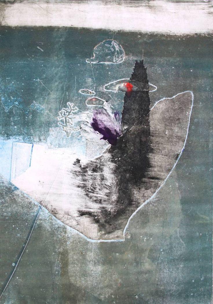 "Saatchi Art Artist ALINA FEDOTOVA; Printmaking, ""Before the rain"" #art"