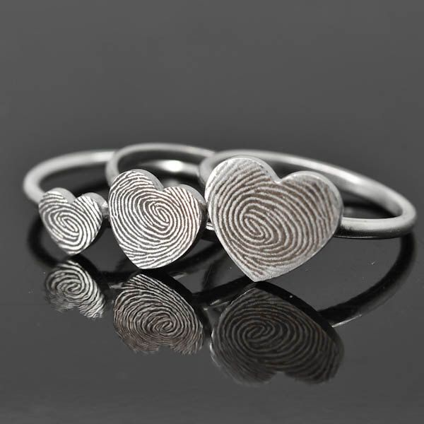 Fingerprint Ring, Fingerprint Jewelry, Stacking Ring, Heart Ring, Engraved Ring, Personalized Jewelry, Bridesmaid Gift, Mother Daughter Ring by JubileJewel on Etsy https://www.etsy.com/hk-en/listing/495407155/fingerprint-ring-fingerprint-jewelry