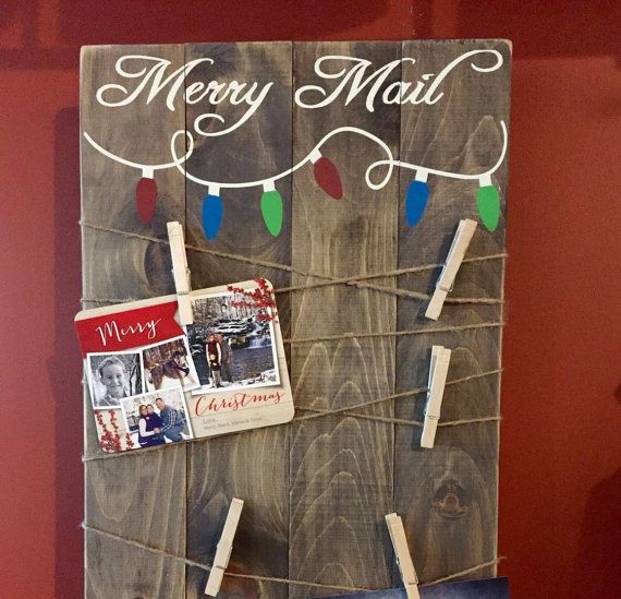 Merry Mail Wooden Card Holder / Wooden Signs / Handmade / Holiday Decor / Christmas Card Holder / Christmas Sign