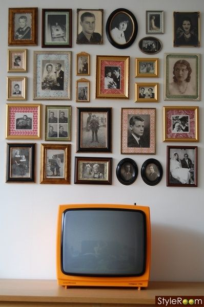 40-50-60's photo wall and a retro TV