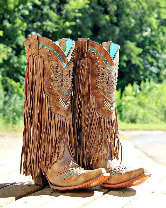 Corral Honey Crystal Fringe Boot