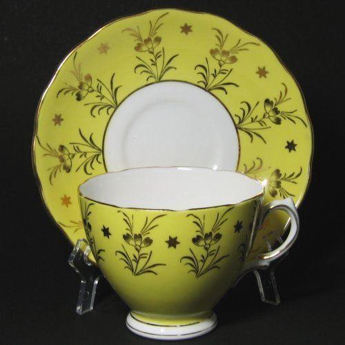 Colclough Yellow Gilt Tea Cup and Saucer