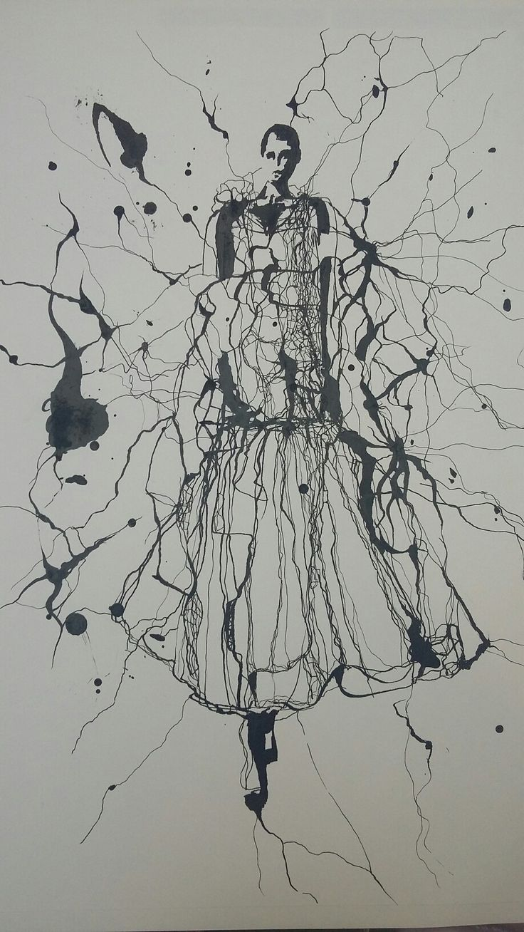 Laura Monaghan ink splatter  fashion illustration