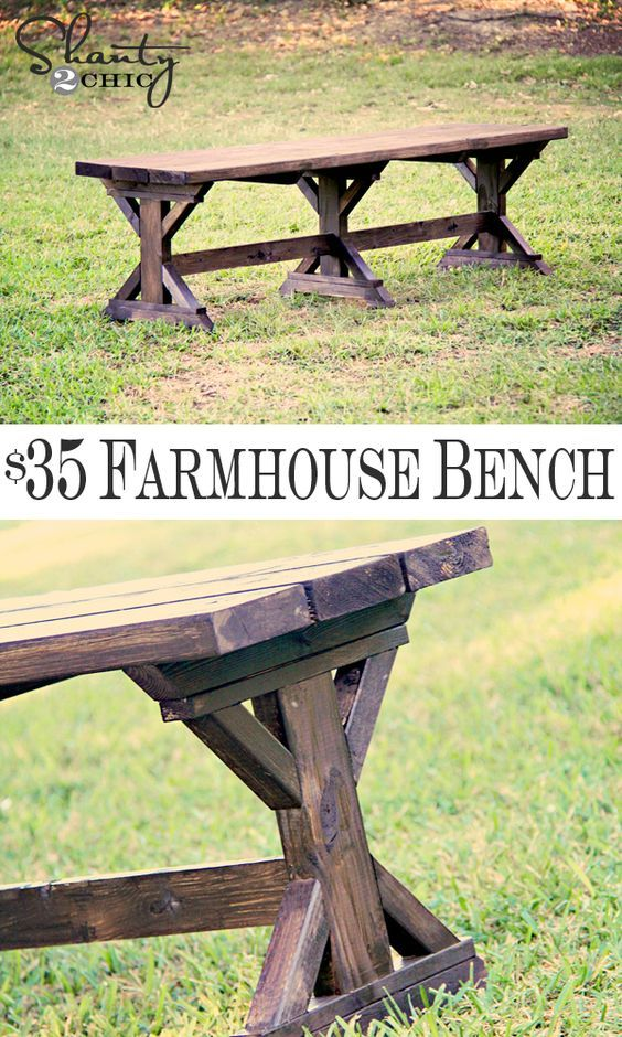 DIY Farmhouse Bench.  This looks sooo sturdy.  I'd like a couple of these and the table to go with it.