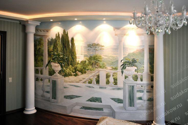 Custom bedroom mural painted to look like the bedroom expands onto a beautiful marble terrace.  #handpaintedmural #bedroommuralidea