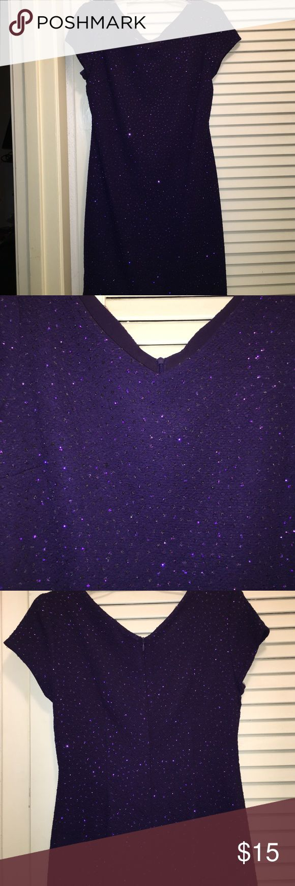 Purple, sparkly dress. Size 6 Great condition, barely worn. A great going out dress. Has sparkles all over dress. David Warren Dresses Midi