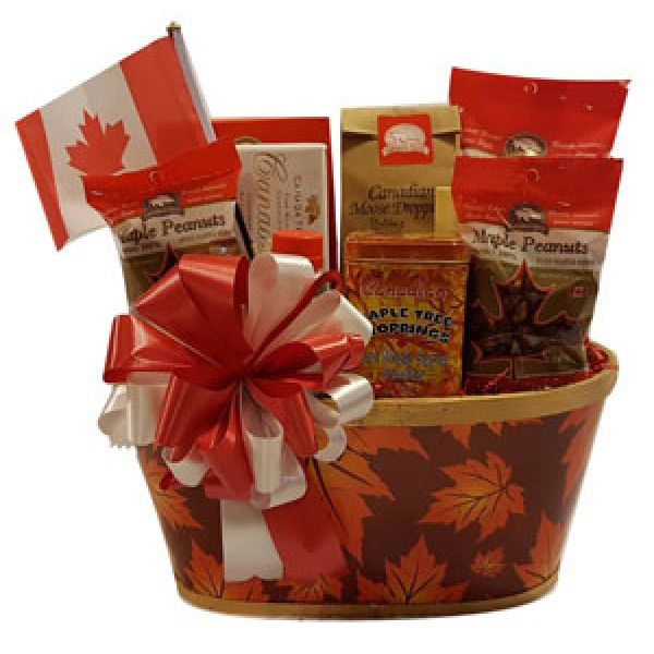 Tastes Of Canada This Canadian Themed Gift Basket Comes Filled With Maple Peanuts Maple Almonds A C Christmas Gift Delivery Themed Gift Baskets Delivery Gifts
