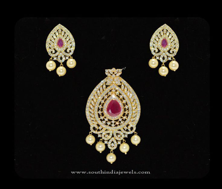 Gold Plated CZ Stone Pendant Sets, One Gram Gold CZ Stone Pendant Sets, Imitation CZ Stone Pendant Sets.