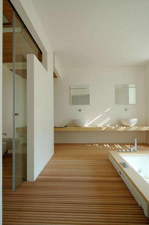 love the wood flooring treatment in this bathroom | #saltstudionyc