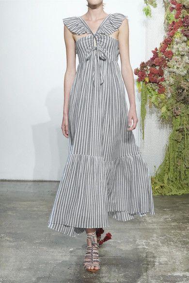 Ulla Johnson - Ariane Striped Cotton-gauze Maxi Dress - Sky blue - US10