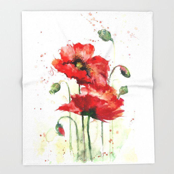 Watercolor Flowers Of Aquarelle Poppies Throw Blanket By Maryami 51 X 60 Blanket Poppy Flower Painting Poppy Painting Watercolor Flowers Tutorial