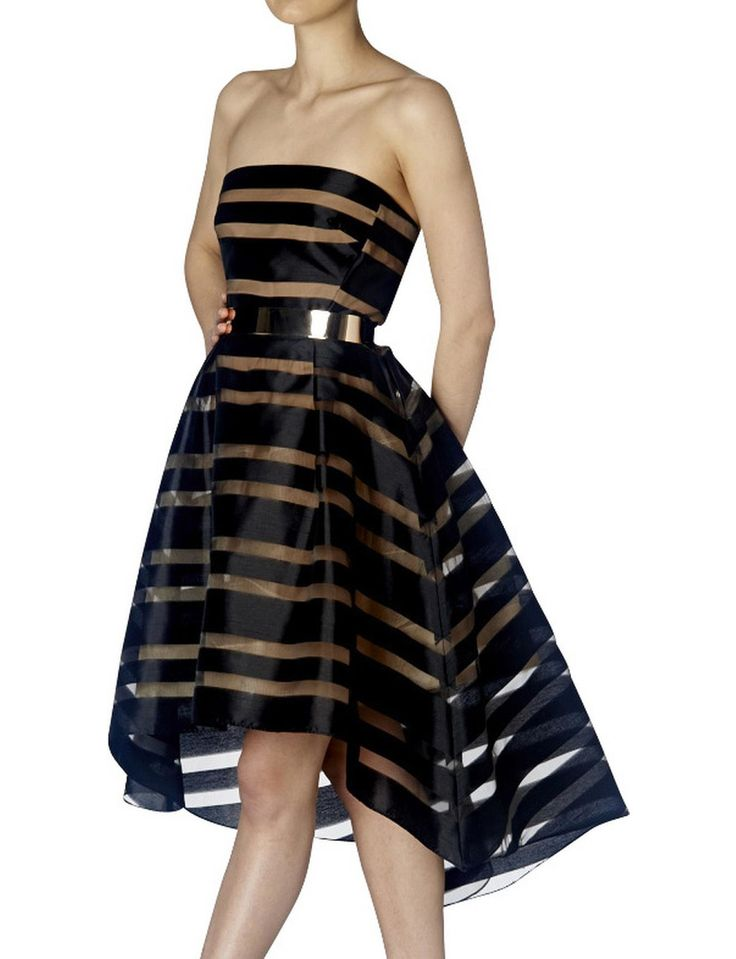 Black & Flesh Stripe Strapless Mini | David Jones