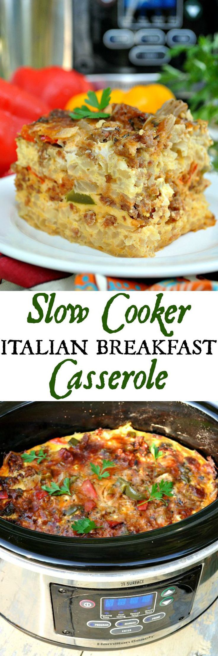 With layers of hash brown potatoes, eggs, cheese, Italian sausage, herbs, and veggies, this Slow Cooker Italian Breakfast Casserole is a total game changer! It cooks in your Crock Pot overnight so that you can wake up to a satisfying and easy breakfast in the morning! #SimplyPotatoes #ad