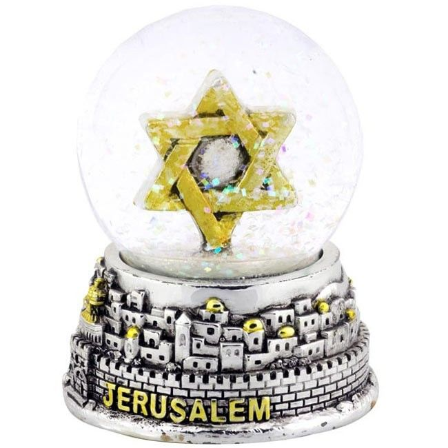 Silver Snow Ball featuring a Jerusalem Old City base and a gold Star of David inside a ball of glittering snow - And yes, it really does snow in Jerusalem sometimes!  Size: 3.5 inches / 9 cm high approx. Cheerful souvenir of Israel.  Shipped to you direct from the Holy Land.