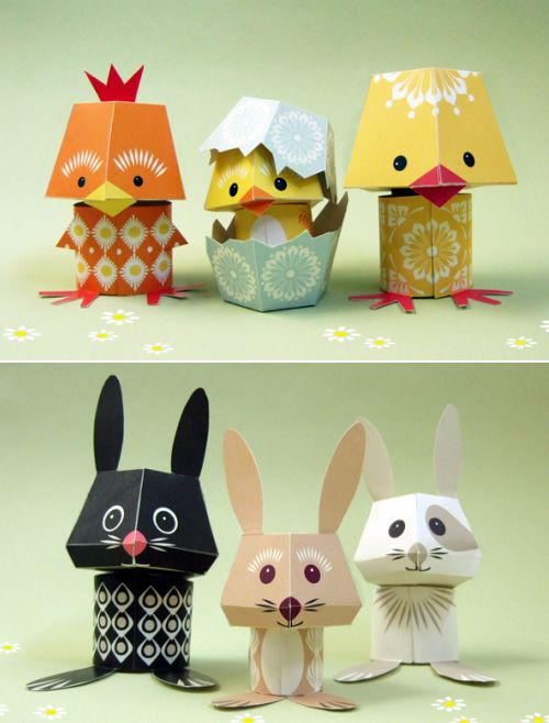 The Yolk Folk & The Carrot Crew by Mibo: Paper toys. Approx. $4 for the PDF, templates and instructions for each trio.