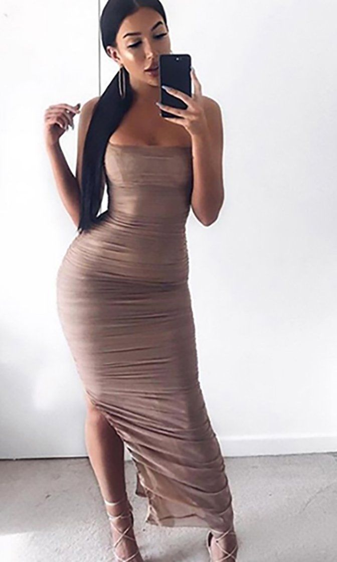 7ed8143a Young And Rich Brown Sleeveless Spaghetti Strap Square Neck Ruched Side  Slit Bodycon Maxi Dress