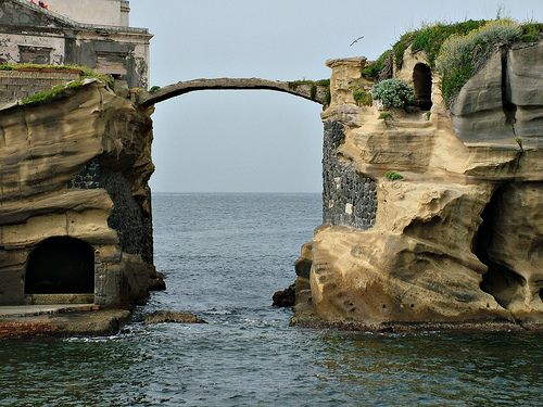 The Gaiola's bridge. Island of Gaiola, Naples, Campania, Italy.