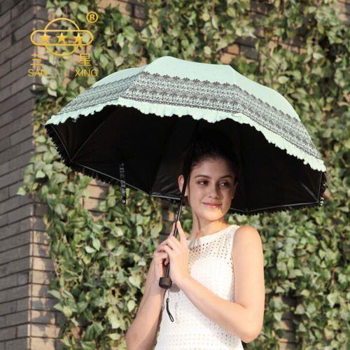 Super-Anti-uv-Sun-Protection-Umbrella-Blue-Sky-3-Folding-Parasols-Rain-Umbrellas