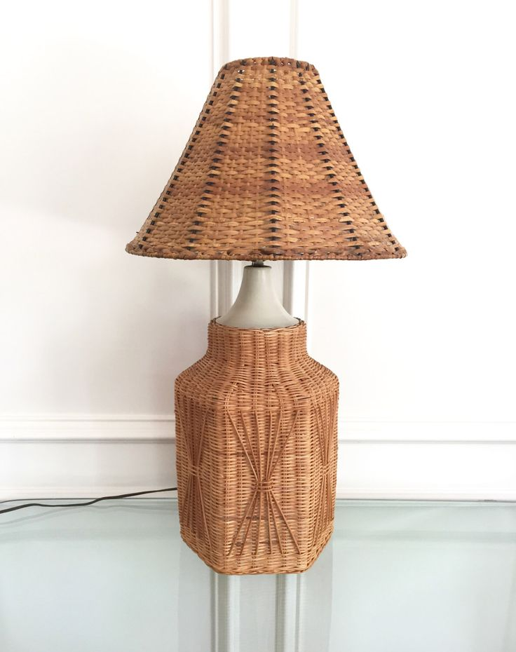 Vintage wicker lamp and shade | lake house decor | natural decor | mid  century lamp - Best 25+ Brown Table Lamps Ideas On Pinterest Brown Lamps