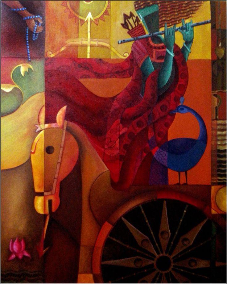 modern abstract krishna
