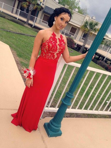 Backless Red Prom Dresses, Long Chiffon prom Dresses, Sheath Lace Women Party Dresses 2017