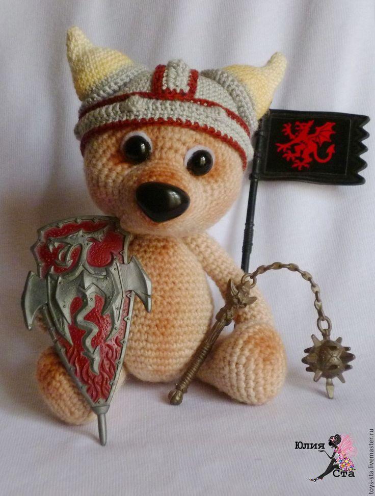 Купить Мишка Викинг - комбинированный, мишка ручной работы, мишка в одежке, подарок ручной работы #amigurumi