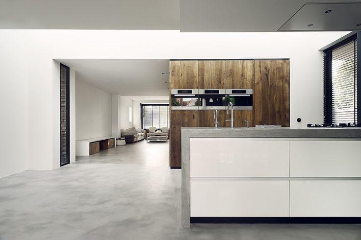 mooie combinatie van wit, beton en warm hout, misschien blad toch door laten lopen stolpen