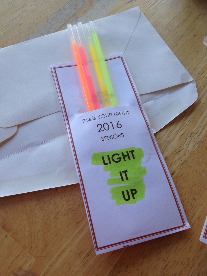 It's you night, light it up!! Put 5 glow sticks tucked into a bookmark size card. Adding to the senior night gift bags. Will make the marching band seniors stand out from the others.