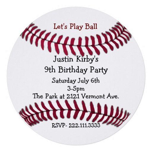 Boy's Baseball Birthday Party Invitation #baseball