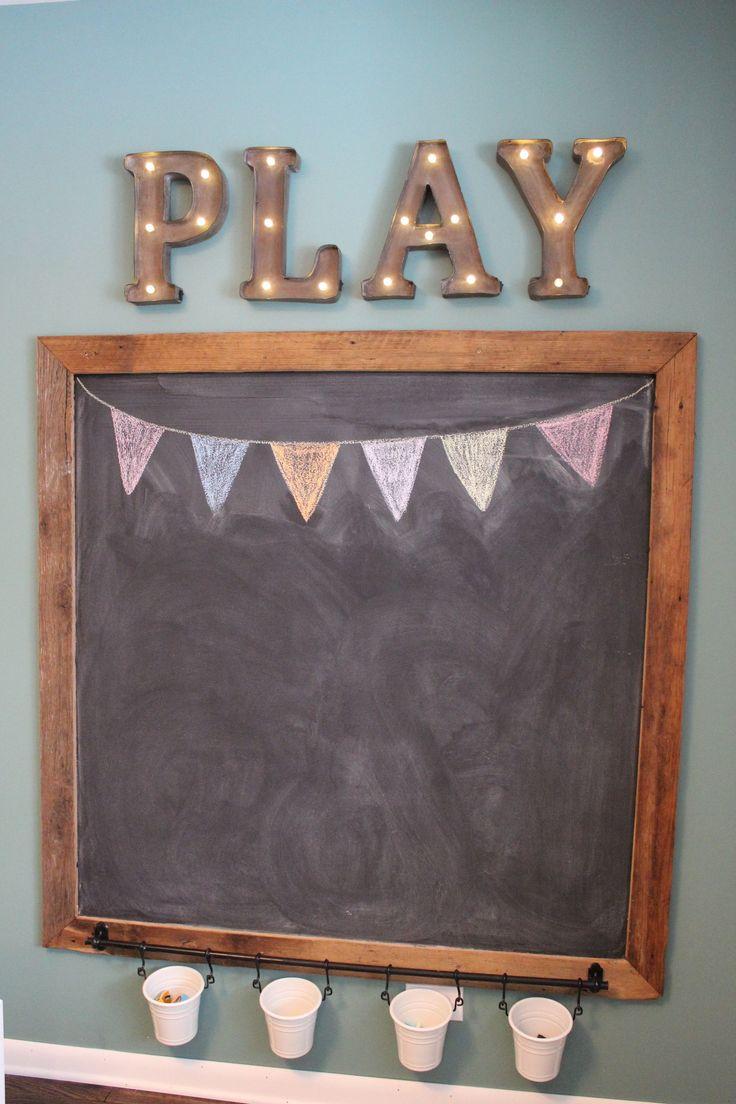 playroom chalkboard - DIY rustic barnwood - kids chalkboard