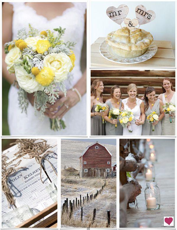Rustic Yellow And Gray Wedding Ideas Inspiration Via Heart Love Weddings Brown