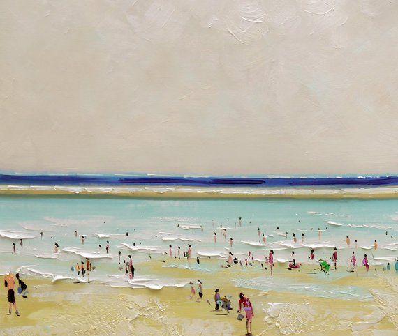 55 Gran Playa Escena Pintura Original Playa Arte Pintura Al Oleo