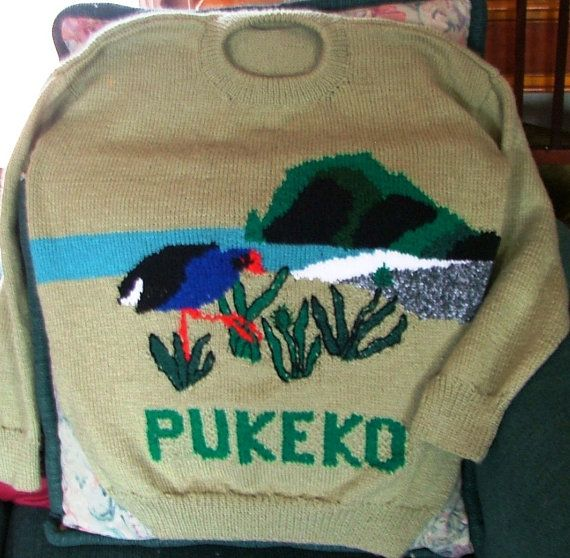Pukeko Jumper at Piha Beach  for adults. Sizes for by KraftyKiwis