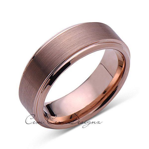 8mm,New,Unique,Rose Brushed,Rose Gold Bevleld,Tungsten Ring,,Wedding Band