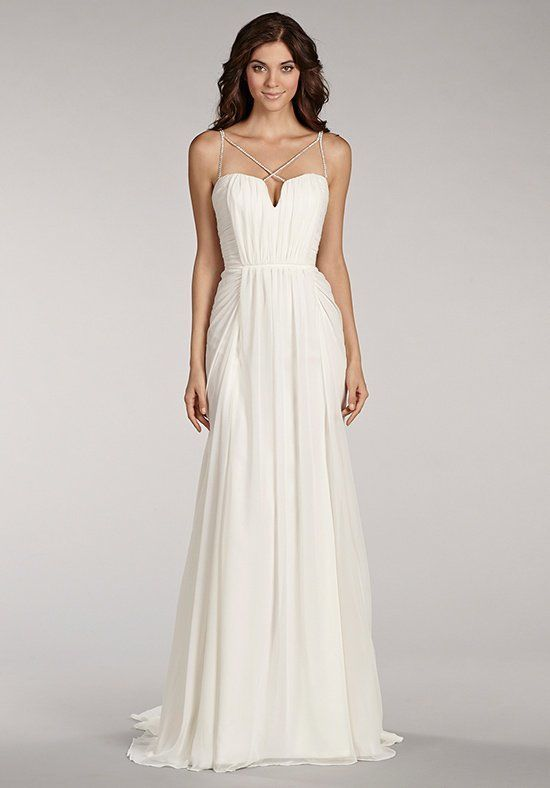 07fe5e9d69 A-line chiffon sweetheart neckline spaghetti strap wedding dress with  beaded straps.