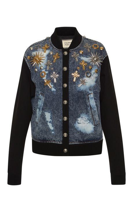 Embellished Denim Bomber Jacket by Fausto Puglisi for Preorder on Moda Operandi