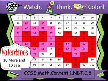 Valentine's Day Ten More/Ten Less - Watch, Think, Color Game   CCSS Gr1