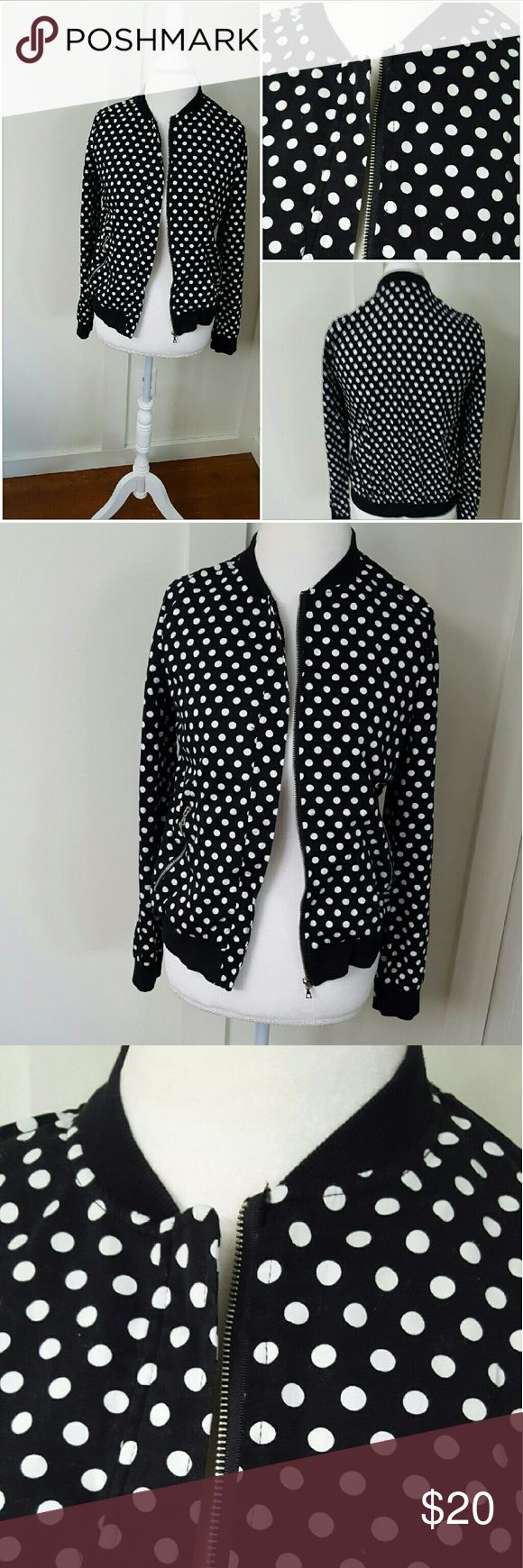 BLACK AND WHITE POLKA DOT ZIP UP JACKET Black and white polka dot zip up jacket. Pre-owned and in good condition. Jackets & Coats Blazers