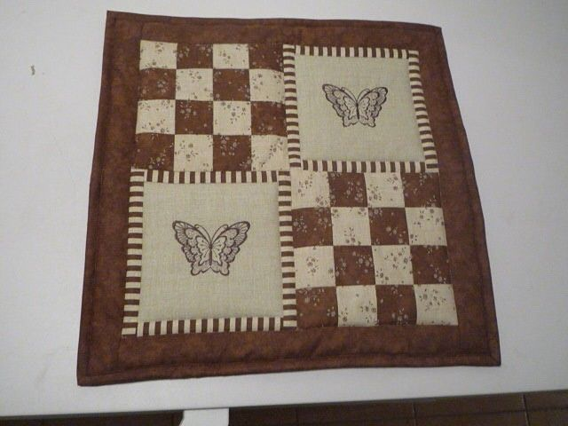 pillow - embroidered butterflies